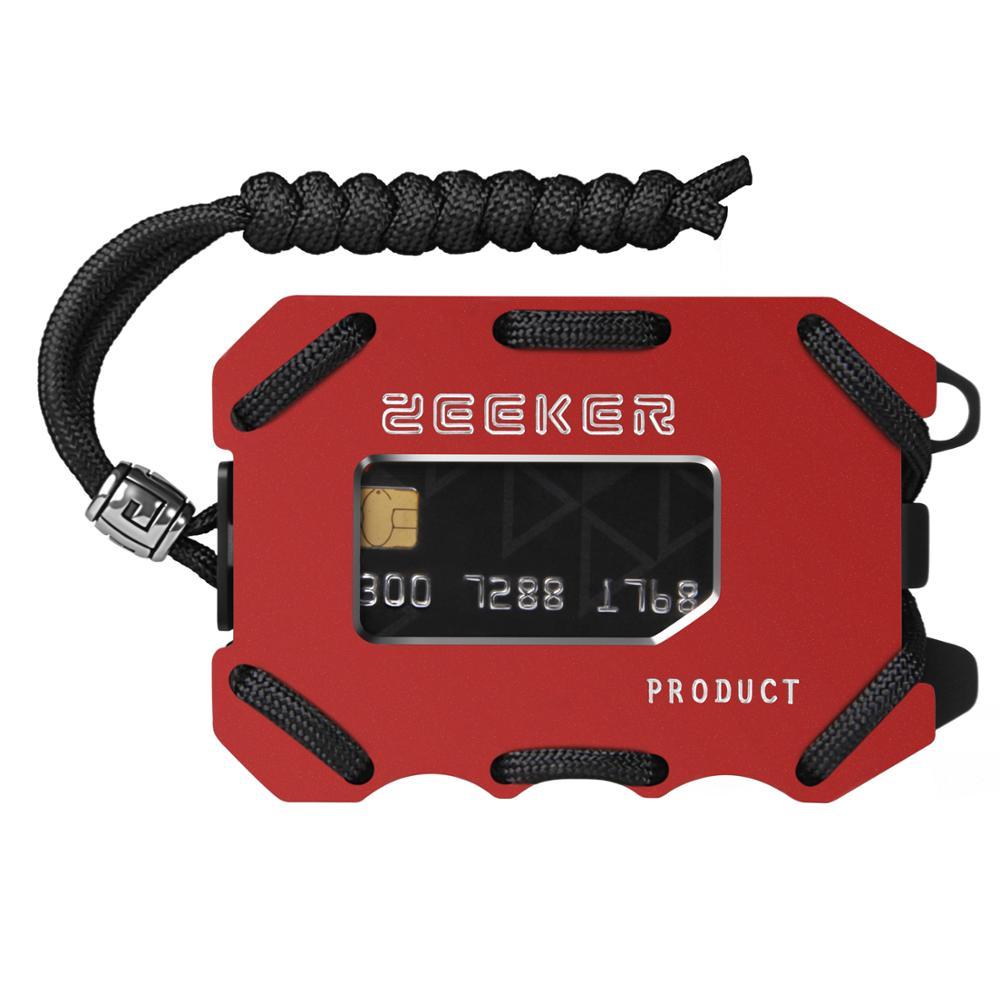 Zeeker Metal Wallet Front Pocket Wallet Slim Credit Card Holder Wallet Men&Women With Cash Clip Paracord For Cards And Cash