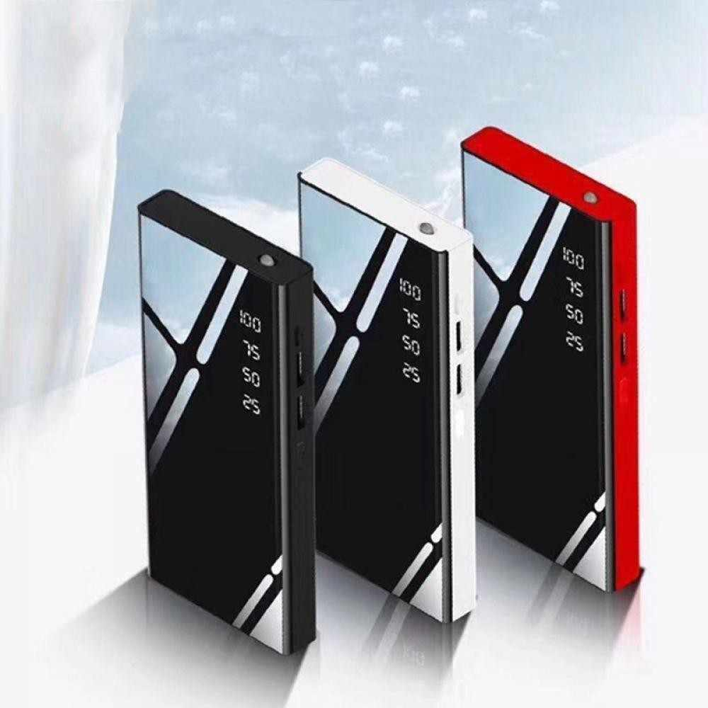 Banco de la energía 30000mAh espejo Power Bank para cargar batería LCD banco de energía con USB doble para IPhone 7 6X8 s Xiaomi Huawei P20 Lite