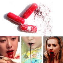 3pcs Vomiting Blood Capsules Few Blood Fancy Dress Halloween and April Fool's Joke Horror Prank Toy Thrilling Incredibles Party(China)
