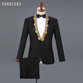 Black Slim Fit Wedding Groom Tuxedo Suits Men Stage Singer Prom Mens Suits with Pants Shawl Collar Costume Homme Ternos S-XXL