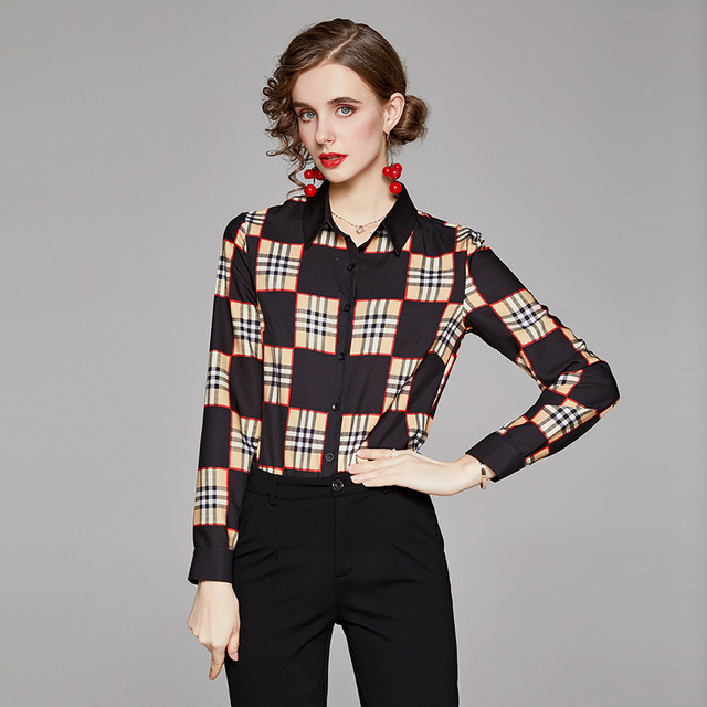 Big Checked Women Blouse Long Sleeves blusas mujer de moda Plaid blusas de mujer Spring Fall chemisier femme women clothes Sexy 4
