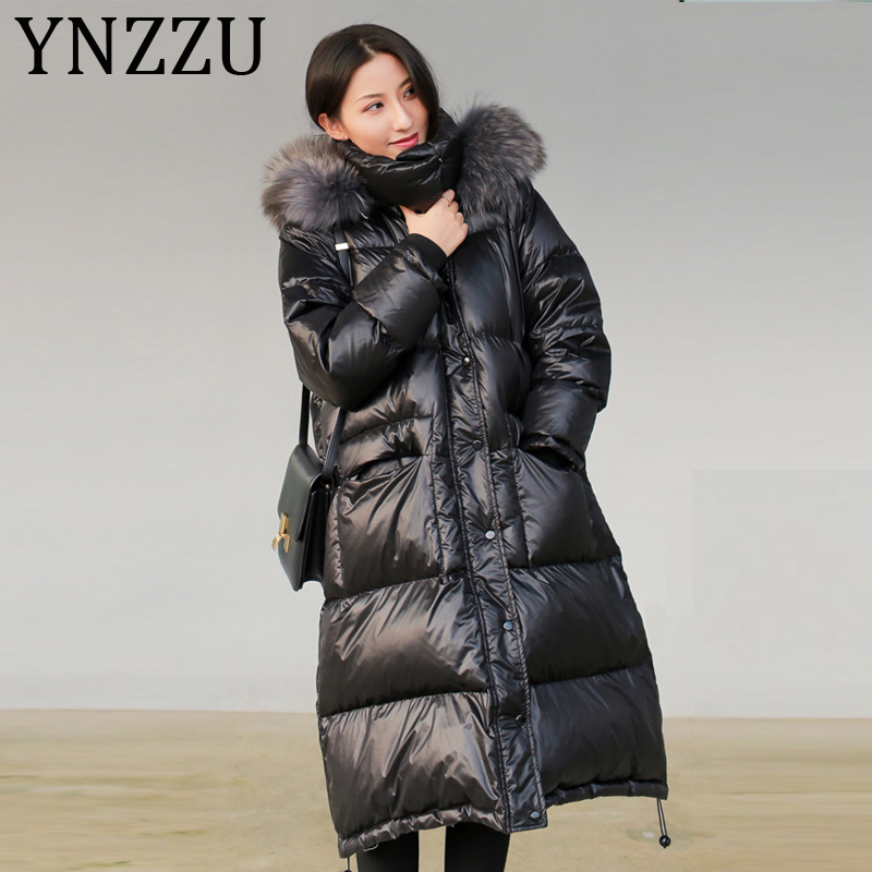 YNZZU Korean Style 2019 Winter Women's   Down   Jacket Casual Long with Real Raccoon Fur Collar Hooded Ladies Duck   Down     Coat   A1151