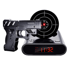 Gun Alarm Clock Gadget Target Laser Shoot Recordable Digital Electronic Desk Clock Table Watch Funny Clock Snooze For Kids