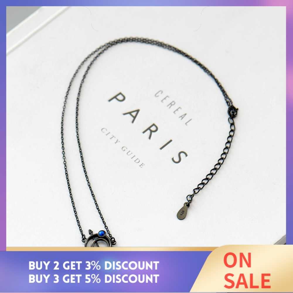 Thaya оригинальный дизайн астрограф s925 Серебряный Опаловый кулон ожерелье Черная цепочка ключицы ожерелье для женщин подарок простые ювелирные изделия