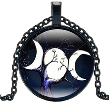 2019 New Triple Moon Goddess Time Glass Round Necklace Pendant Personality Girls' Sweater Chain Jewelry triple moon