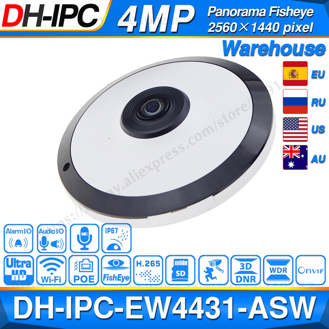 Dahua IPC EW4431 ASW 4MP Panorama POE WIFI 360 Fisheye IP Della Macchina Fotografica Built in Slot Per Schede SD MIC Audio Interfaccia Allarme