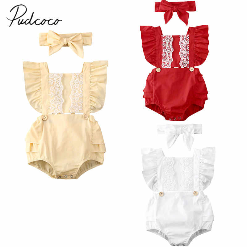 2020 Baby Summer Clothing Infant Newborn Baby Girl Lace Patchwork Bodysuits Ruffled Jumpsuits Headband Solid Playsuits