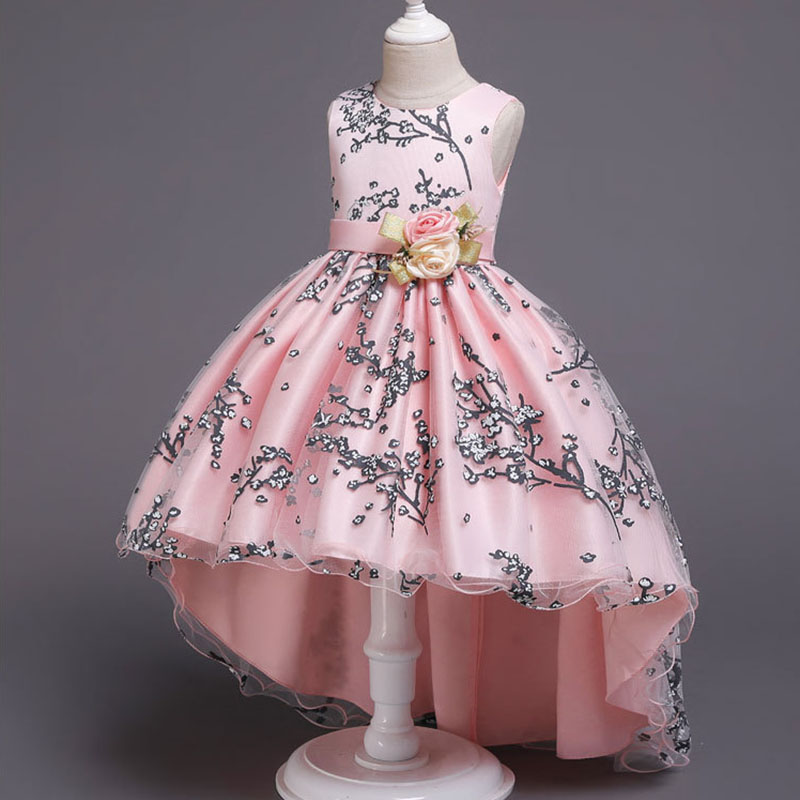 Baby Girls Flower Princess Ball Gown Party Tutu Trailing Dress For Brithday Wedding Kids Christmas Dresses Children Clothing 4