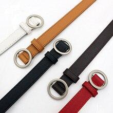 Ladies Simple Versatile Belt Ladies Pure Leather Fashion Punk Round Pin Buckle Decorative Jean Thin Belt