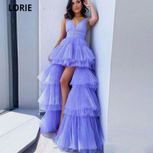 Celebrity-Dresses Evening-Gowns Tulle LORIE Formal Women Tiered V-Neck Open-Back Beach