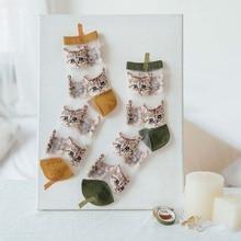1 Pairs Cartoon Women Socks Summer Fashion Glass Filament Cat Embroidery Female Transparent Cute Girl Funny Korea