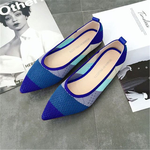 New Womens Casual flats bailarinas luxury Brand Shallow Mouth Pointed Ballet Female Boat Shoes wool Knitted Maternity loafers