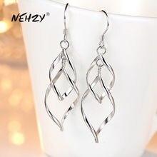 NEHZY-pendientes de plata de ley 925 para mujer, joyería de moda de alta calidad, borla larga de hojas, retro, simple, oferta