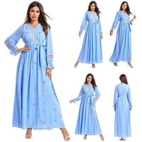Fashion Embroidery Long Dress Muslim Women Abaya Dubai Kaftan Robe Gown Casual Long Sleeve Arab Islamic Clothing V neck Dresses
