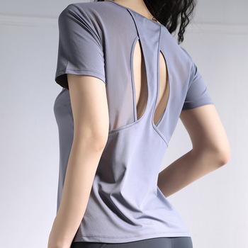 Sportowa koszulka z krótkim rękawem luźna koszulka treningowa szybkoschnąca oddychająca odzież sportowa koszulka damska koszulka do jogi Backless Hollow Out tanie i dobre opinie Wmuncc WOMEN Poliester spandex Pasuje prawda na wymiar weź swój normalny rozmiar Suknem Anty-pilling Przeciwzmarszczkowy