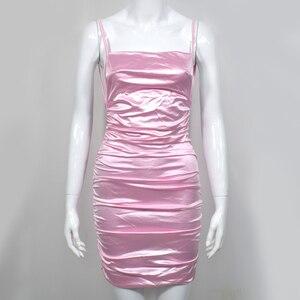 Image 5 - NewAsia robe courte pour femmes, jardin, dos nu, Sexy, bretelles Spaghetti, col oblique, cou, froncée, rose