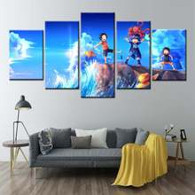 Cartoon Luffy Sabo Ace seaside Canvas HD Printed Poster 5 Pieces One Piece Paintings wall pictures for Kids Boys Room Home Decor(China)