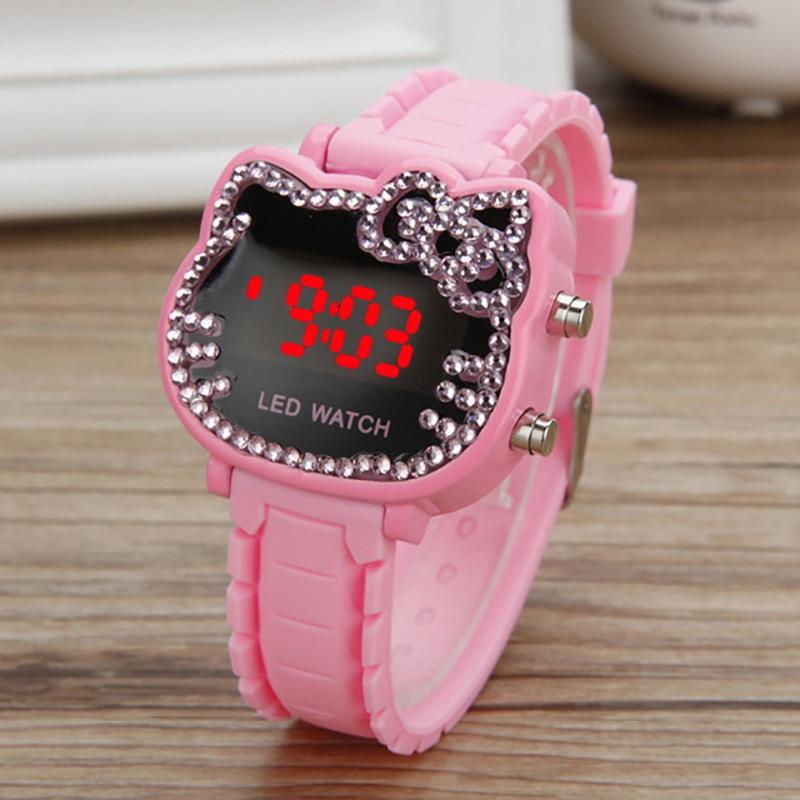 Hello Kitty Watch Kids Women Led Electronic Watches Gifts Girls Cute Children's Cartoon Sport Wrist Watch For Kids Clock