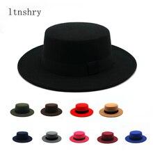 Invierno otoño imitación de lana mujeres hombres señoras Fedoras Top Jazz sombrero Europeo Americano redondo gorras Bowler Feminino Gorra