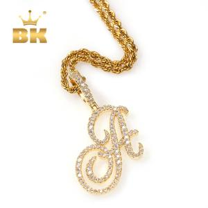 THE BLING KING Single Artistic Font A-Z 26 Initial Letter Pendant Necklace Cubic Zirconia Mens Women Jewelry Gold New Style