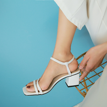 WETKISS Ankle Strap Sandals Medium Heels Thick Sandals Women 2020 New Gladiator Sandals Female Square Toe Summer Shoes Ladies women new design white leather lace up mix color ball design thick heel sandals gladiator sandals ladies beach sandals