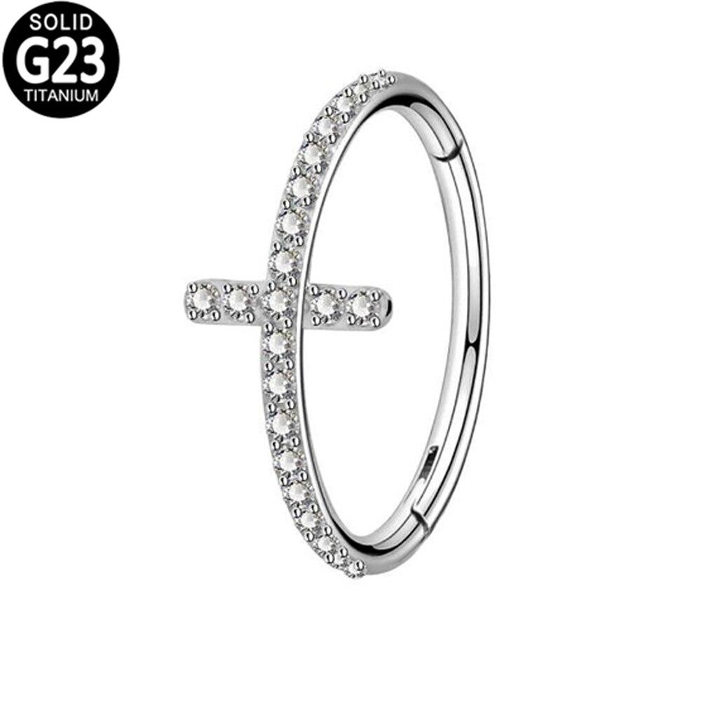 G23 Титан крест спираль серьги CZ кластер шарнирный сегмент кольцо ноздри ниппель кликер уха хрящ трагус пирсинг губ ювелирные изделия