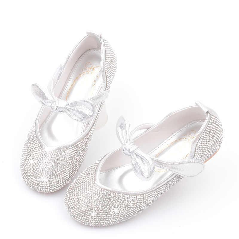 Yeni tatlı yay prenses ayakkabı performans Rhinestone Sequins yumuşak rahat çocuklar Flats düğün parti elbise kız tek ayakkabı