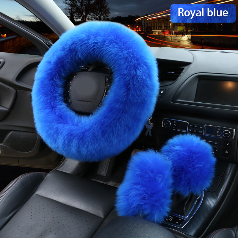 3pcs Car Artifical Wool Steering Wheel Winter Warm Plush Cover Cap Auto Steering-Wheel Covers Protector Decor Accessories title=