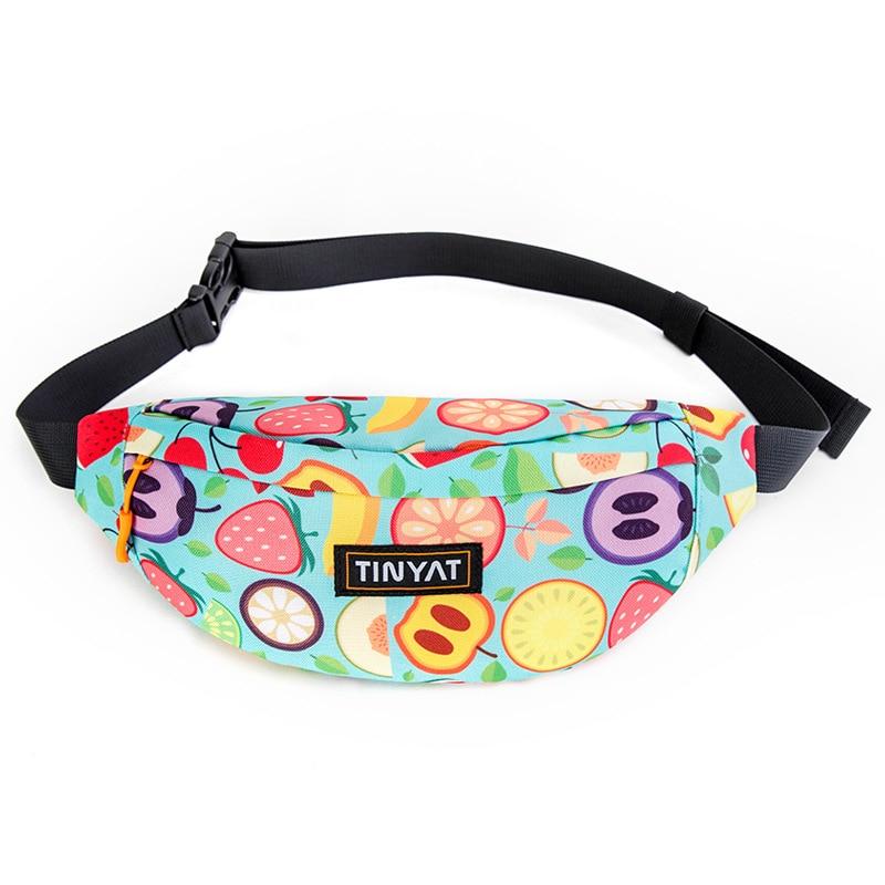 TINYAT New Colorful Waist Bag For Men Women Fanny Pack 3d Printing Mobile Phone Bag Outdoor Running Banana Belt Bag Male Pochete