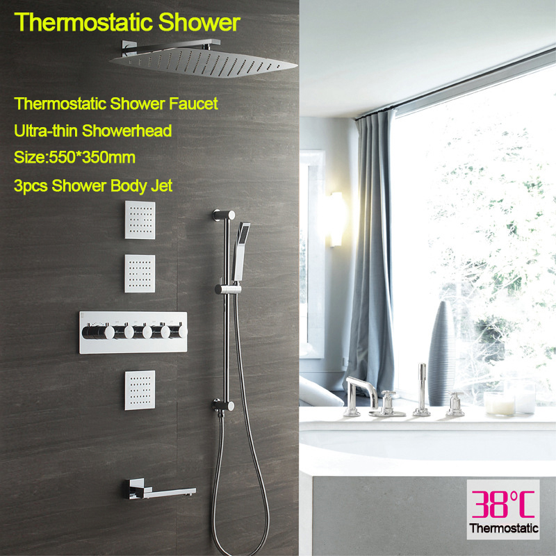 20 Inch Bathroom Rainfall Shower Head 304SUS Thermostatic Faucet Ceiling Mounted Showerheads Massage Spray Jet With Slide Bar in Shower Faucets from Home Improvement