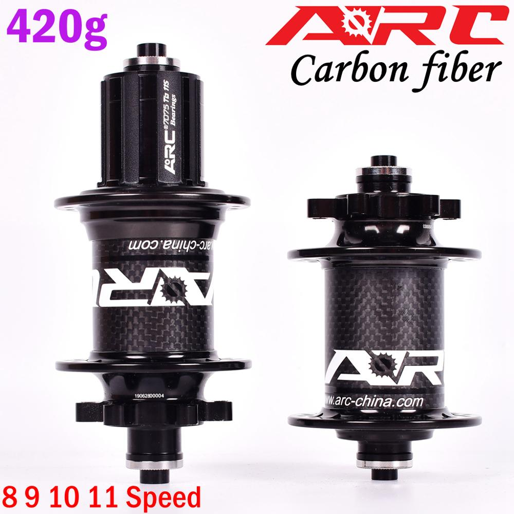Image 2 - ARC Carbon Fiber MTB hub Mountain bike hubs 4 bearing 6 Pawls 114 Click 8 9 10 11 speed bicycle hub 135*10MM 142*12MM 32 Holes-in Bicycle Hubs from Sports & Entertainment