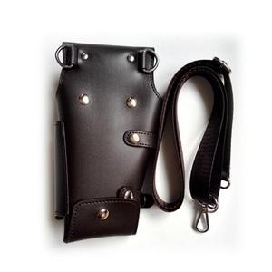 Image 3 - PU Leather Rivet Hair Scissor Bag Clips Bag Hairdressing Barber Scissor Holster Pouch Holder Case with Waist Shoulder Belt Brown