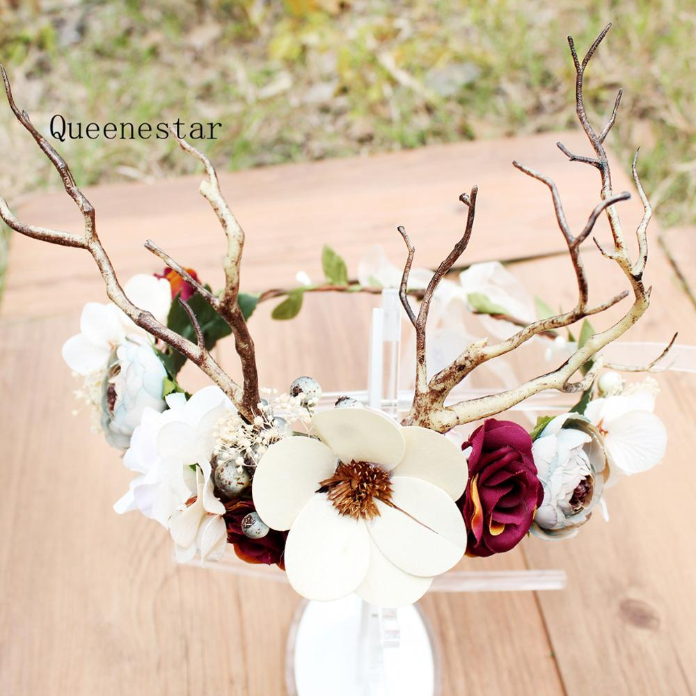 Fashion Flower Wreath Crown For Bride Deer Horn Rose Branch Hairband Women Holiday Fancy Show Party Ladies Wedding Headdress