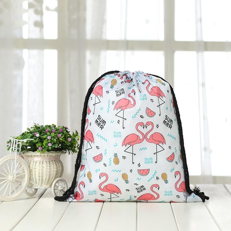Fashion Drawstring Backpack Women Printing Clover Travel Softback Men Drawstring Bags Unisex  Shoulder Bunches Flamingo Bags New