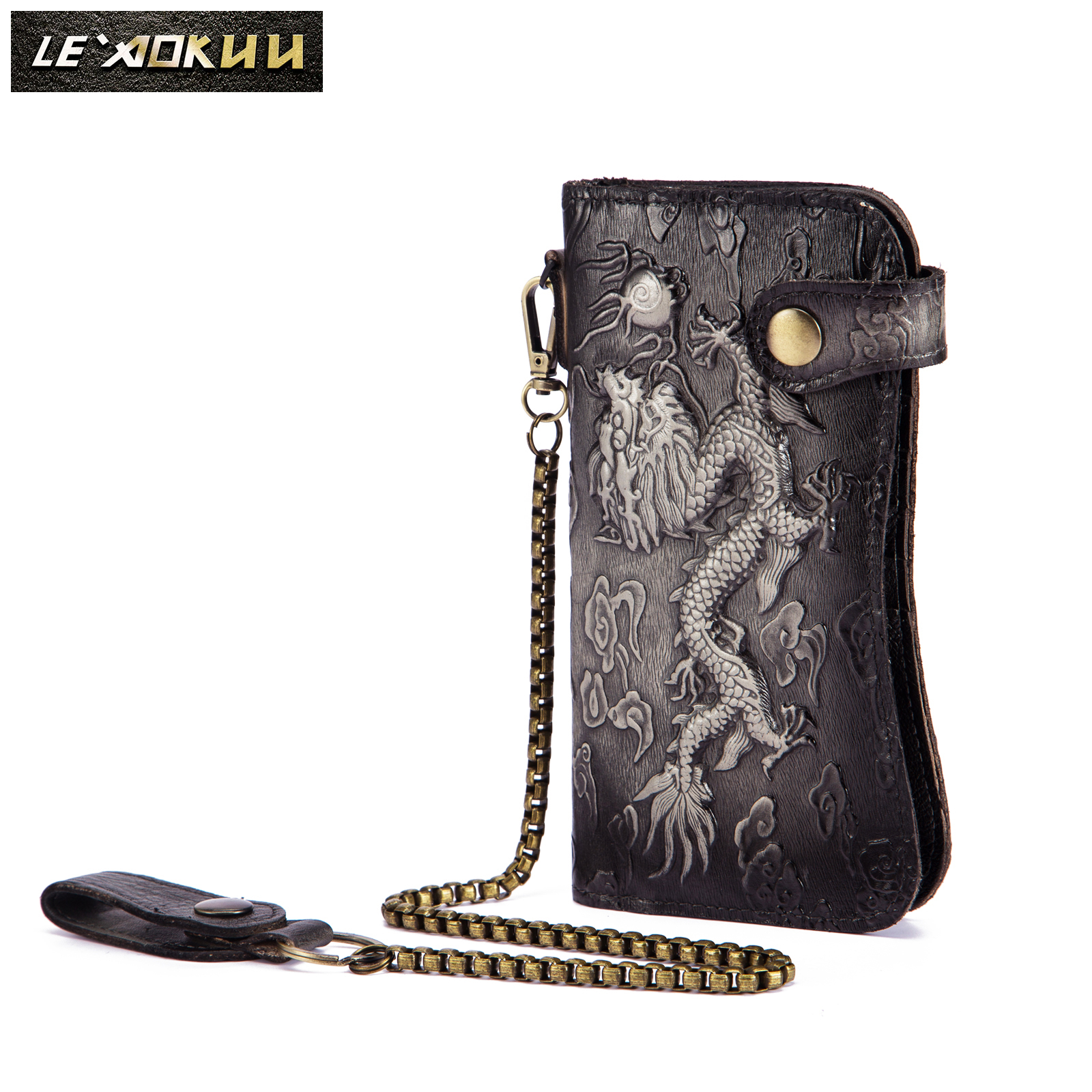 Cattle Male Organizal Real Leather Design Dargon Tiger Emboss Checkbook Iron Chain Wallet Purse Clutch Handbag 1088