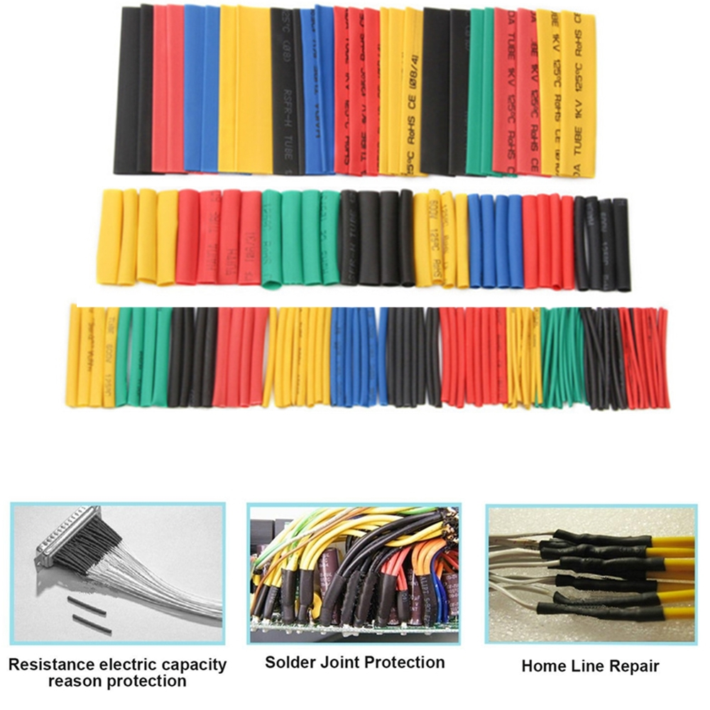 127pcs Assorted Heat Shrink Tube Wire Wrap Electrical Insulation Sleeving Kit