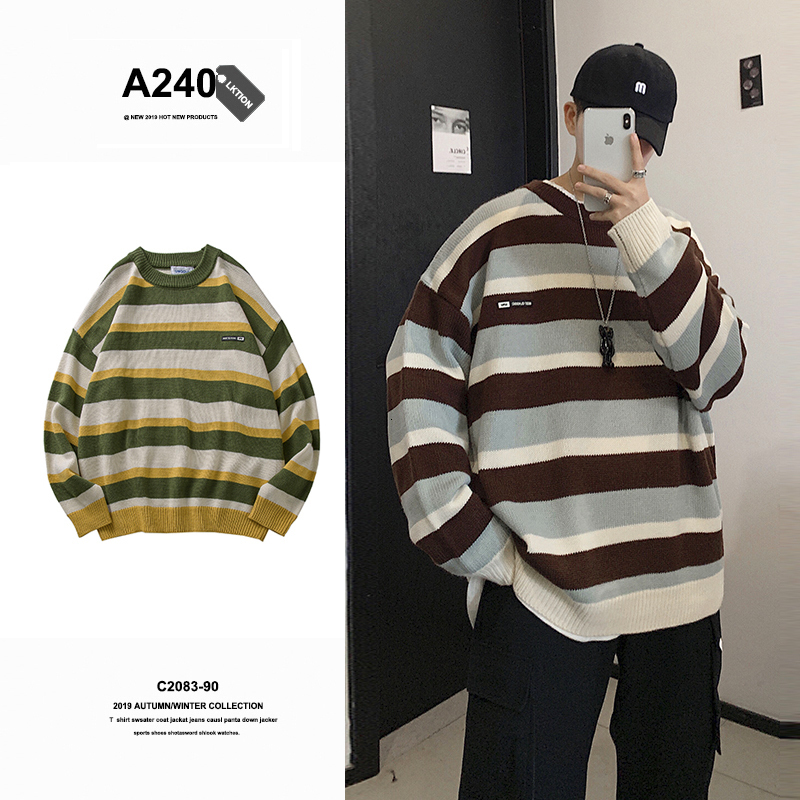 Winter New Sweater Men Warm Fashion Contrast Color Casual Knit Pullover Man Loose Long-sleeved Striped Sweater Male Clothes