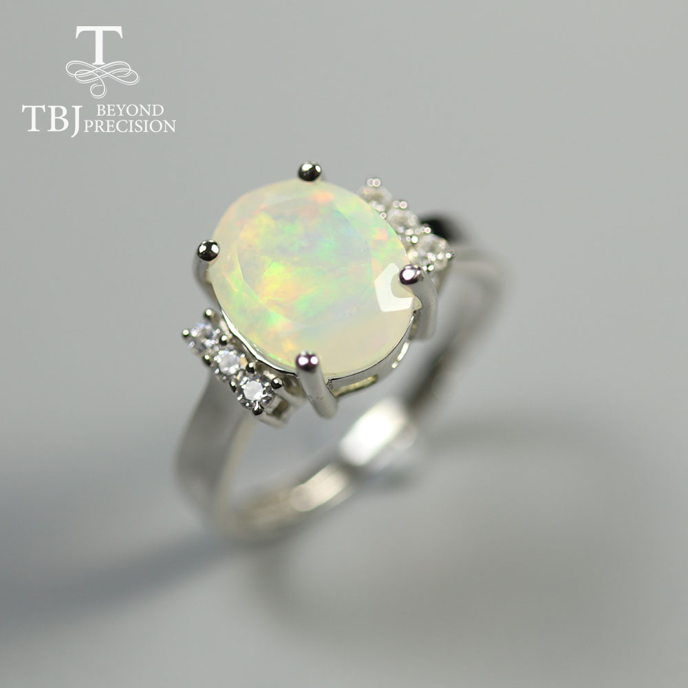 Opal-Ring Fine-Jewelry 925-Sterling-Silver Natural-Gemstone Real-Ethiopia Women Facet
