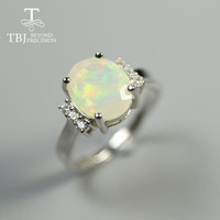 TBJ,2.2ct real Ethiopia Opal Ring oval 9*11mm facet cut natural gemstone fine jewelry 925 sterling silver for women best gift