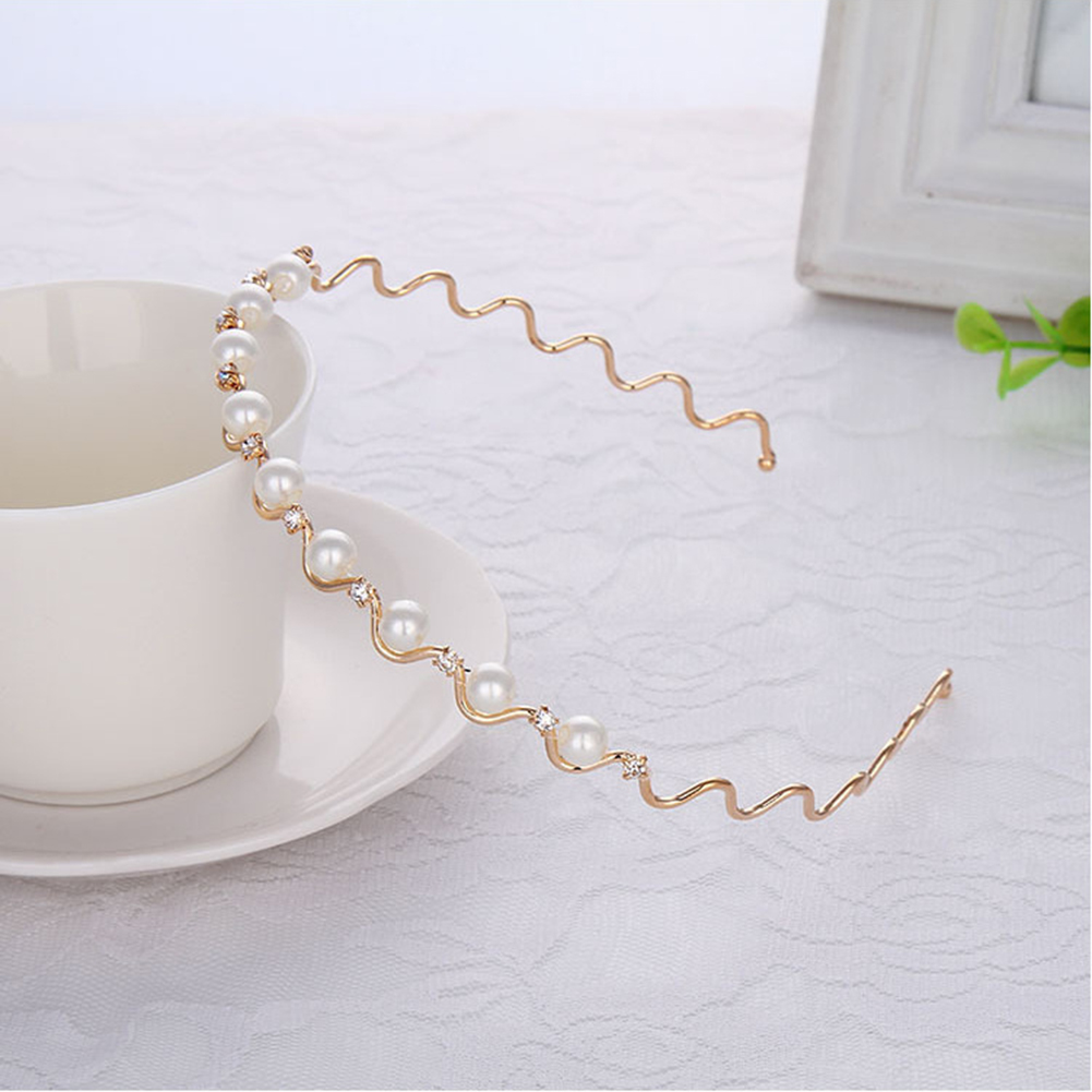 1Pcs Hot Crystal Rhinestone Pearls Wave Hairband Women Bridal Wedding Tiara Hair Accessories Crown  Fashion Hairwear