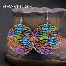 Женские винтажные серьги подвески bravekiss bohomia круглые