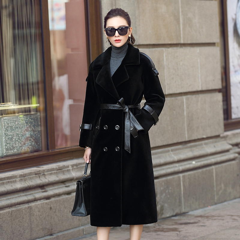 Shearing Sheep Women Coats Thick Real Wool Fur Coat Women 2020 Warm Winter Jacket Long Trench Female With Belt F-706