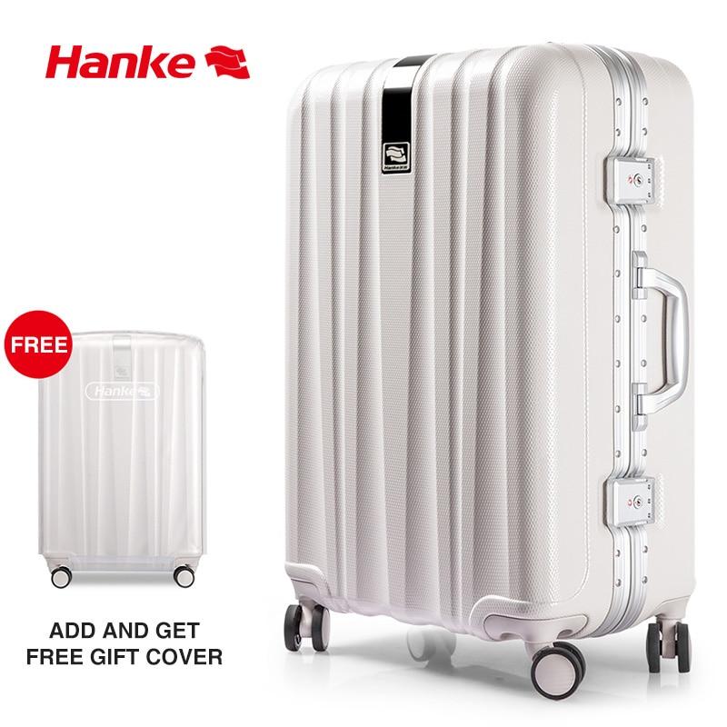 Brand Designer Suitcase Aluminum Alloy Frame Luggage Travel Trolley Case Hard PC Shell Rolling Spinner Wheels TSA Lock H9822