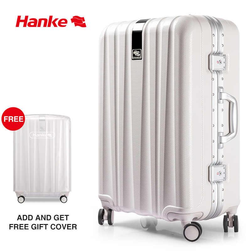 Marka projektant walizka ramka ze stopu aluminium bagaż podróżna torba na kółkach sztywne plastikowe etui Rolling kółka obrotowe TSA Lock H9822