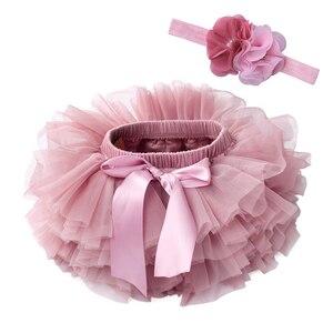Детские тюлевые шаровары для девочек, детские подгузники-пачки для новорожденных, 2 шт., короткие юбки и повязка на голову с цветами, вечерни...