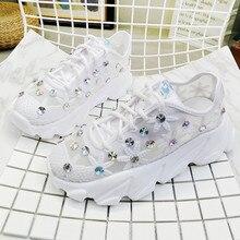 Women White Sneakers Fashion Rhinestone Ladies Platform Shoe
