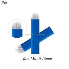 Blue Microblades 15U Diam 0.18mm Blades Microblading Nano Needles Flex Curved Tattoo blade