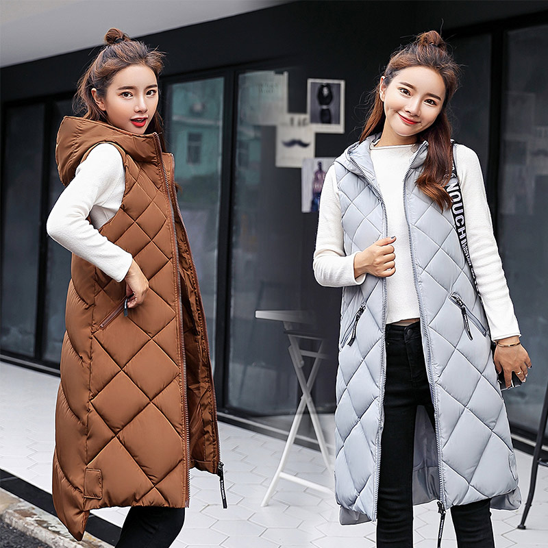 Women's Plus Size 3XL Vest Waistcoat Quilted Padded Cotton Long Vests Women Korean Style Spring Autumn Hooded Sleeveless Jackets