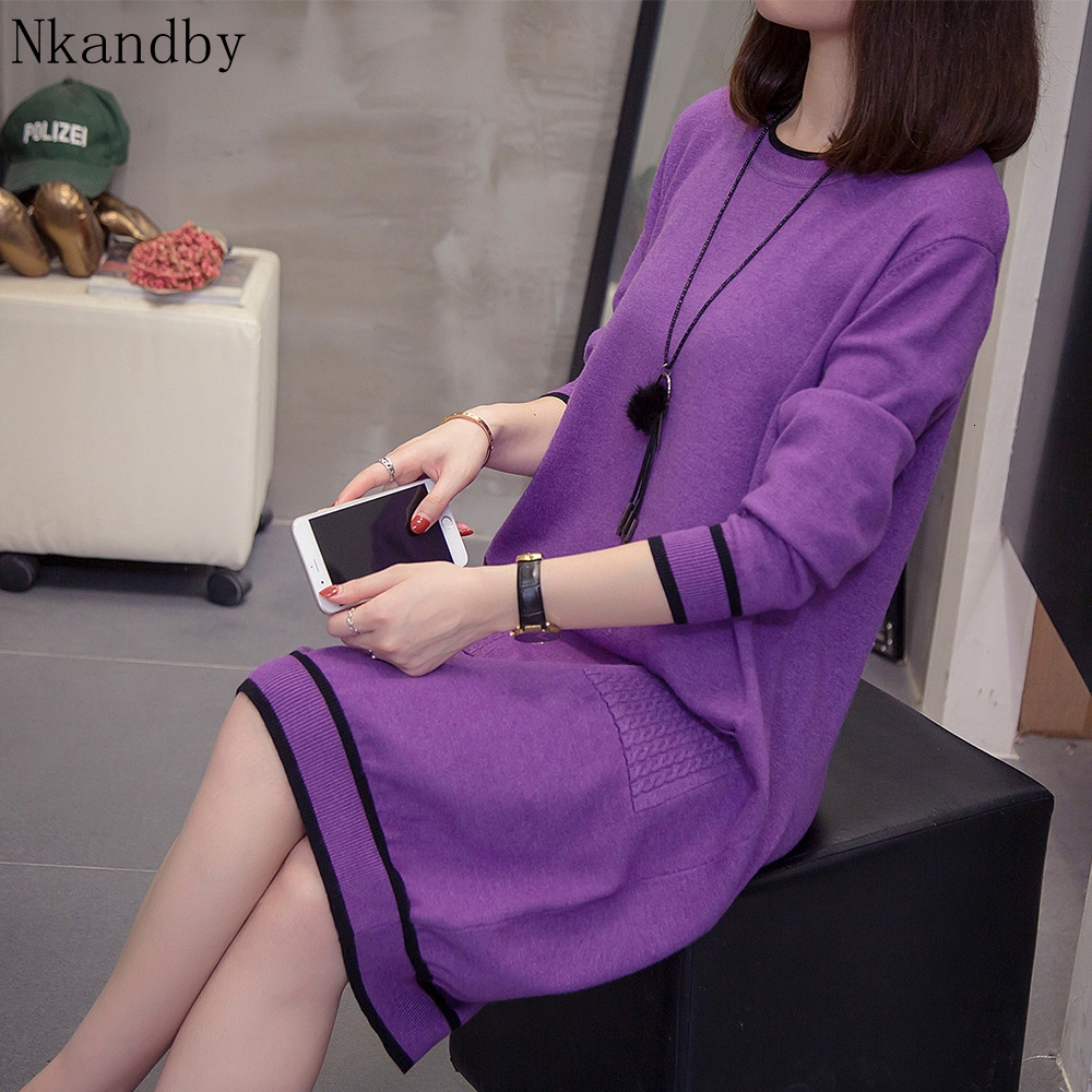 Plus Size Spellcolor Knit Dress Women Autumn Winter Korean Fashion Pullovers Long Sweater Oversize Loose Knitwear Jumpers 4xl
