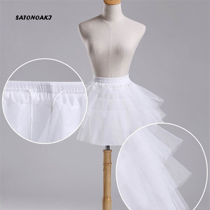 SATONOAKI Top Quality Stock White Ballet Petticoat Tulle Ruffle Short Crinoline Bridal Petticoats Lady Girls Underskirt